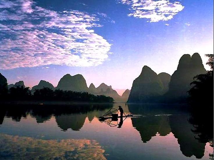 les colline et l'eau de Guilin - le début de l'itinéraire