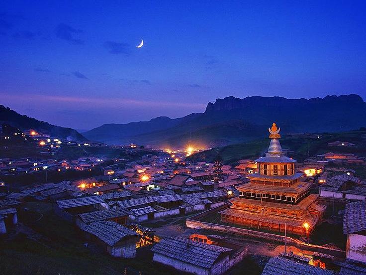 Bourg Langmusi de la province du Gansu