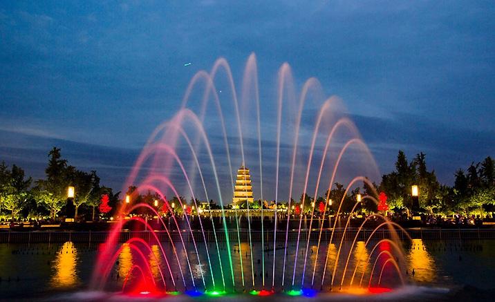 Xi'an : la fontaine musicale de la Grande pagode de l'Oie Sauvage