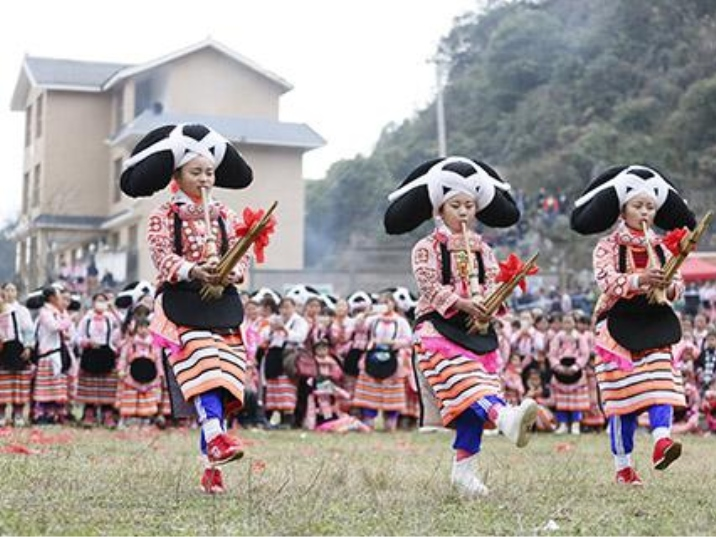 Tiaohua Festival of Long Horn Miao People in Guizhou Province