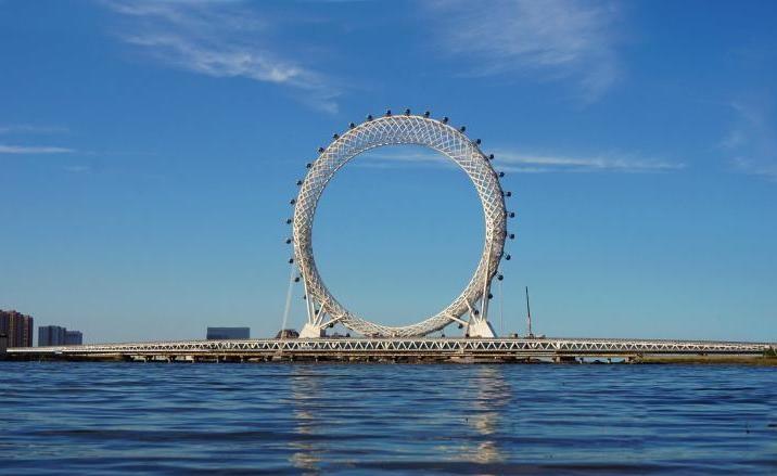 Bailang River Bridge Ferris Wheel opens in Shandong's Weifang City