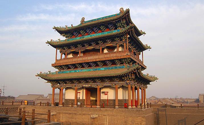 Le pavillon du rempart de la vieille ville de Pingyao, Shanxi