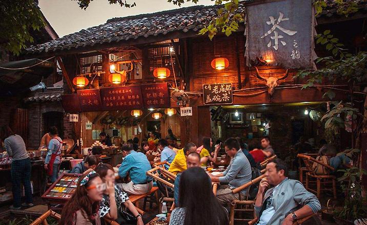 Maison de thé en plein air de Chengdu