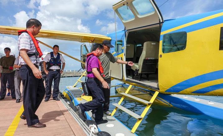 L'opération d'essai officielle des tours d'hydravion à Haikou, province du Hainan